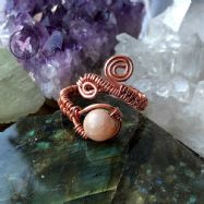Sunstone Adjustable Copper Wirewrapped Ring